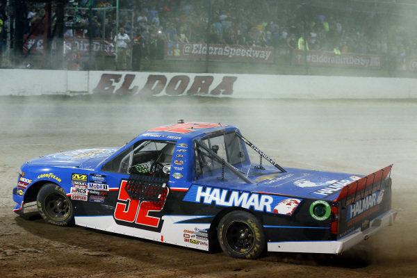 #52: Stewart Friesen, Halmar Friesen Racing, Chevrolet Silverado Halmar International celebrates his win with a burnout