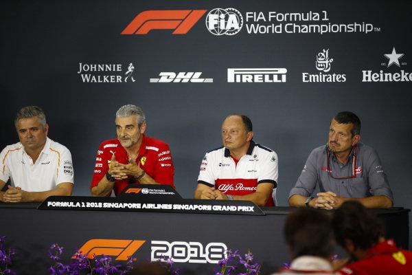 Gil de Ferran, Sporting Director, McLaren, Maurizio Arrivabene, Team Principal, Ferrari, Frederic Vasseur, Alfa Romeo Sauber F1 Team, Team Principal, and Guenther Steiner, Team Principal, Haas F1, in a Press Conference.