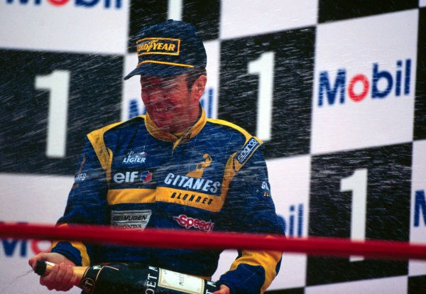 1995 Belgian Grand Prix.Spa-Francorchamps, Belgium.25-27 August 1995.Martin Brundle (Ligier Mugen Honda) 3rd position.World Copyright - LAT Photographic