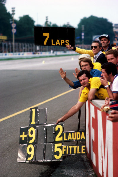 The Ferrari team including Luca di Montezemolo (ITA) hold out a pit board for third placed Carlos Reutemann (ARG) Ferrari in the late stages of the race.