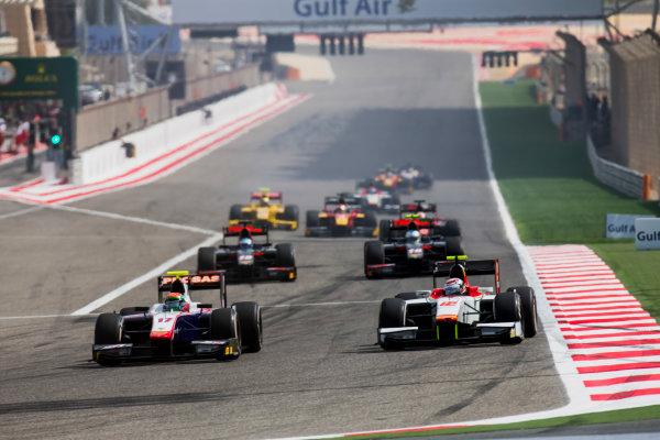 2017 FIA Formula 2 Round 1. Bahrain International Circuit, Sakhir, Bahrain.  Sunday 16 April 2017. Sergio Canamasas (ESP, Trident), Stefano Coletti (MON, Campos Racing)  Photo: Zak Mauger/FIA Formula 2. ref: Digital Image _X0W5002