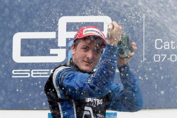 Circuit de Catalunya, Spain. 9th May 2010. Sunday Race.Fabio Leimer (SUI, Ocean Racing Technology) celebrates his victory on the podium. Photo: Andrew Ferraro/GP2 Media Service.Ref: _Q0C3184 jpg