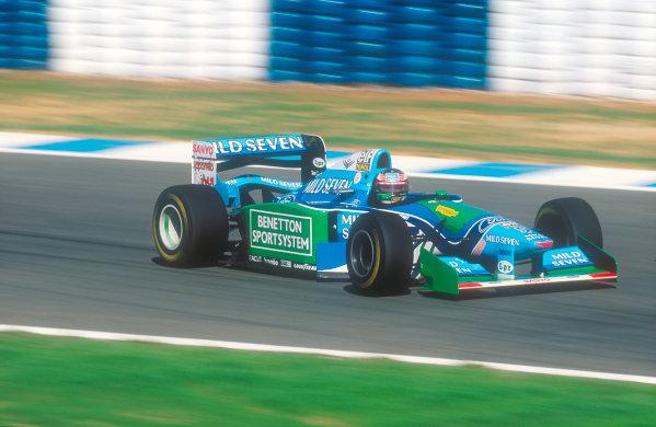 Jerez, Spain.14-16 October 1994.Michael Schumacher (Benetton Ford) 1st position.Ref-94 EUR 08.World Copyright - LAT Photographic