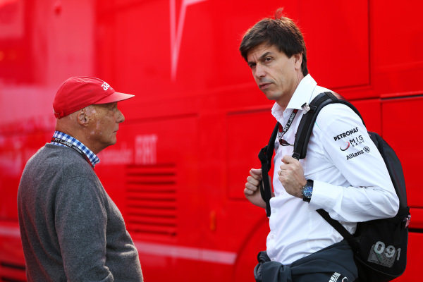 Niki Lauda (AUT) Mercedes AMG F1 Non-Executive Chairman and Toto Wolff (AUT) Mercedes AMG F1 Director of Motorsport. Formula One World Championship, Rd9, German Grand Prix, Qualifying, Nurburgring, Germany, Saturday 6 July 2013.