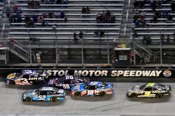 NASCAR XFINITY Series Food City 300 Bristol Motor Speedway, Bristol, TN USA Friday 18 August 2017 Ty Dillon, Bass Pro Shops / NRA Museum Chevrolet Camaro, Dale Earnhardt Jr, Goody's Mixed Fruit Blast Chevrolet Camaro and Kyle Busch, NOS Rowdy Toyota Camry World Copyright: Nigel Kinrade LAT Images