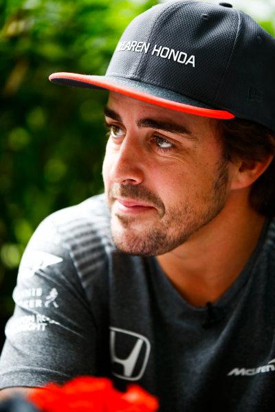 Sepang International Circuit, Sepang, Malaysia. Thursday 28 September 2017. Fernando Alonso, McLaren. World Copyright: Andy Hone/LAT Images  ref: Digital Image _ONZ8719