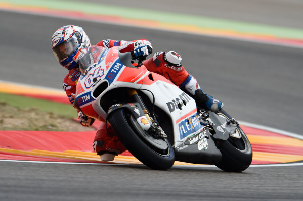 2017 MotoGP Championship - Round 14 Aragon, Spain. Friday 22 September 2017 Andrea Dovizioso, Ducati Team World Copyright: Gold and Goose / LAT Images ref: Digital Image 693826