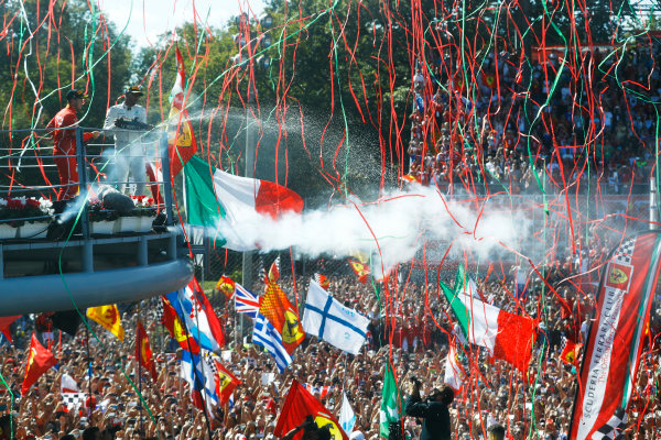 Autodromo Nazionale di Monza, Italy. Sunday 03 September 2017. Streamers fall during the podium ceremony. World Copyright: Steven Tee/LAT Images  ref: Digital Image _O3I7161