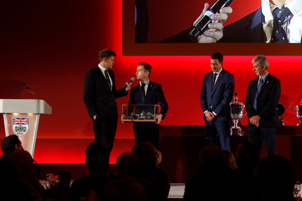 2015 British Racing Drivers Club Awards Grand Connaught Rooms, London Monday 7th December 2015 Charlie Roberston on stage. World Copyright: Jakob Ebrey/LAT Photographic ref: Digital Image Robertson-02 (2)