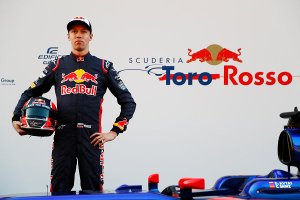 Toro Rosso STR12 Formula 1 Launch. Barcelona, Spain  Sunday 26 February 2017. Daniil Kvyat, Toro Rosso.  World Copyright: Dunbar/LAT Images Ref: _X4I9698