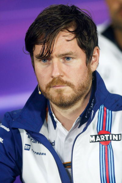 Circuit Gilles Villeneuve, Montreal, Canada. Friday 5 June 2015. Rob Smedley, Head of Vehicle Performance, Williams F1, in the Team Principals Press Conference. World Copyright: Alastair Staley/LAT Photographic. ref: Digital Image _79P1573