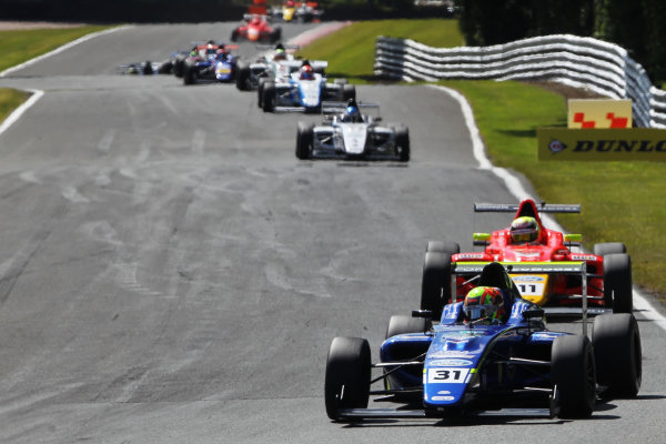 2015 MSA Formula Powered by Ford EcoBoost, Oulton Park, Cheshire. 5th - 7th June 2015. Start of Race 3 Lando Norris (GBR) Carlin MSA Formula leads. World Copyright: Ebrey / LAT Photographic.