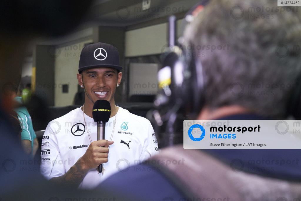 Marina Bay Circuit, Singapore. Sunday 21 September 2014. Lewis Hamilton, Mercedes AMG. World Copyright: Steve Etherington/LAT Photographic. ref: Digital Image SNE22017