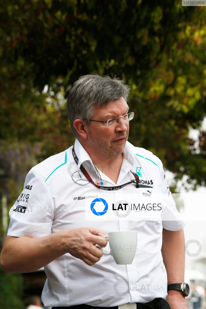 Shanghai International Circuit, Shanghai, China Saturday 13th April 2013 Ross Brawn, Team Principal, Mercedes AMG.  World Copyright: Charles Coates/LAT Photographic ref: Digital Image _N7T4633