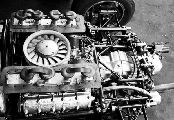 The air-cooled Flat Four engine that powered the Porsche 804 to PorscheÕs first ever Grand Prix victory.  French Grand Prix, Rouen-les-Essarts, 8 July 1962.