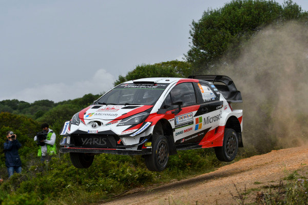 Esapekka Lappi flys in his Toyota Yaris