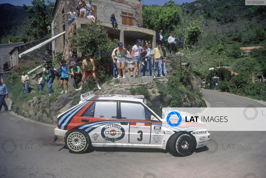 1992 World Rally Championship.Tour de Corse, Corsica, France. 3-6 May 1992.Didier Auriol/Bernard Occelli (Lancia Delta HF Integrale), 1st position.World Copyright: LAT PhotographicRef: 35mm transparency 92RALLY12