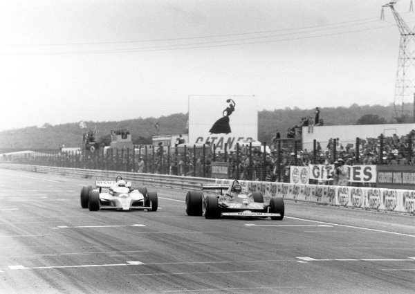 1979 French Grand Prix. Dijon-Prenois, France. 29 June-1 July 1979. Gilles Villeneuve (Ferrari 312T4) leads Rene Arnoux (Renault RS10) at the finish after their epic battle. They finished in 2nd and 3rd position respectively. World Copyright: LAT Photographic Ref: SL79/248/26