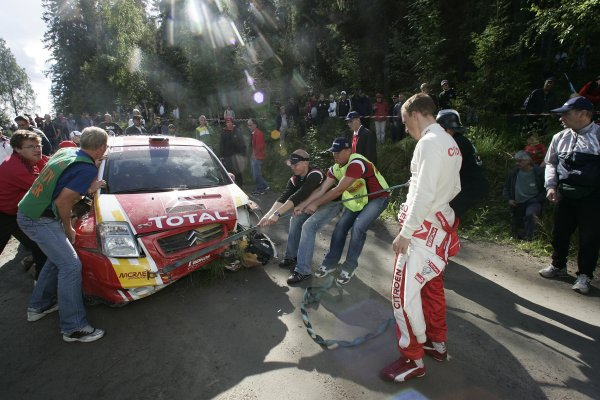 2005 FIA World Rally Champs. Round ten Rally Finland.4th - 7th August 2005.Kris Meeke, Citroen 1600, accident.World Copyright: McKlein/LAT
