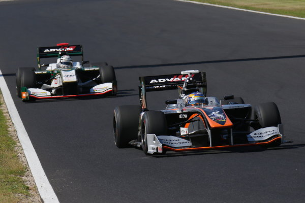 2017 Japanese Super Formula. Okayama, Japan. 27th - 28th May 2017. Rd 2. Race 2 2nd position Hiroaki Ishiura ( #2 P.MU/CERUMO ? INGING SF14 ) action World Copyright: Yasushi Ishihara / LAT Images. Ref: 2017SF_Rd2_Race2_009