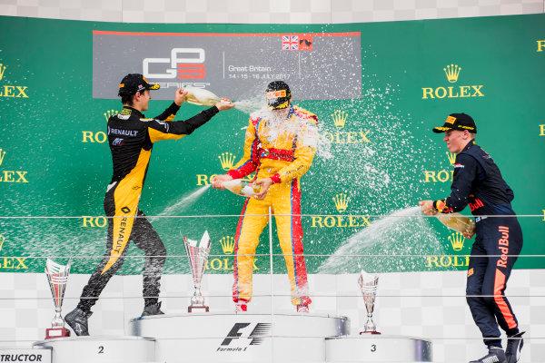 2017 GP3 Series Round 3.  Silverstone, Northamptonshire, UK. Sunday 16 July 2017. Jack Aitken (GBR, ART Grand Prix), Giuliano Alesi (FRA, Trident), Niko Kari (FIN, Arden International).  Photo: Zak Mauger/GP3 Series Media Service. ref: Digital Image _56I0242