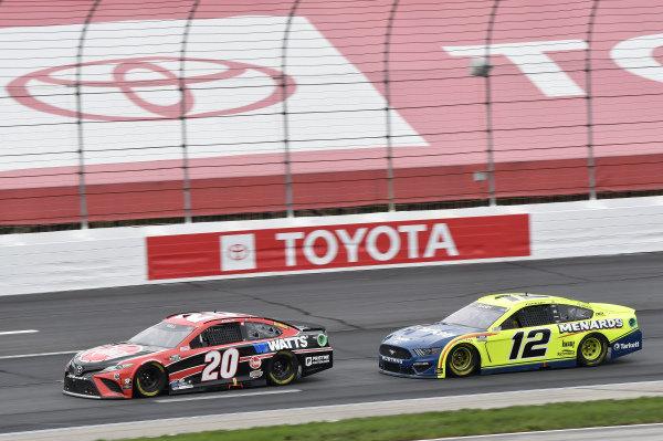 #20: Christopher Bell, Joe Gibbs Racing, Toyota Camry Rheem/Watts, #12: Ryan Blaney, Team Penske, Ford Mustang Menards/Tarkett