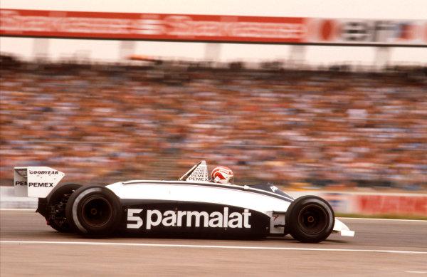 1981 German Grand Prix.Hockenheim, Germany.31/7-2/8 1981.Nelson Piquet (Brabham BT49C Ford) 1st position.Ref-81 GER 03.World Copyright - LAT Photographic