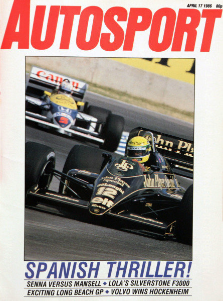 Cover of Autosport magazine, 17th April 1986
