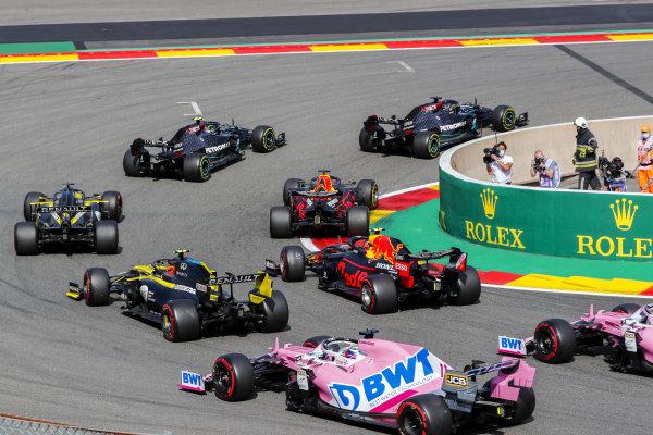 Lewis Hamilton, Mercedes F1 W11 EQ Performance, leads Valtteri Bottas, Mercedes F1 W11 EQ Performance, Max Verstappen, Red Bull Racing RB16 and Daniel Ricciardo, Renault R.S.20