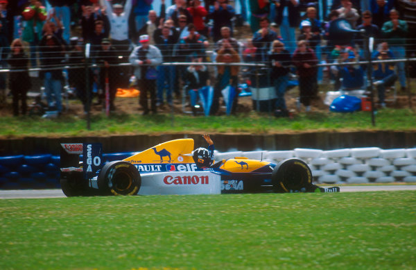 1993 British Grand Prix.Silverstone, England.9-11 July 1993.Damon Hill (Williams FW15C Renault) waves to the fans after he secured pole position for his home Grand Prix.Ref-93 GB 03.World Copyright - LAT Photographic