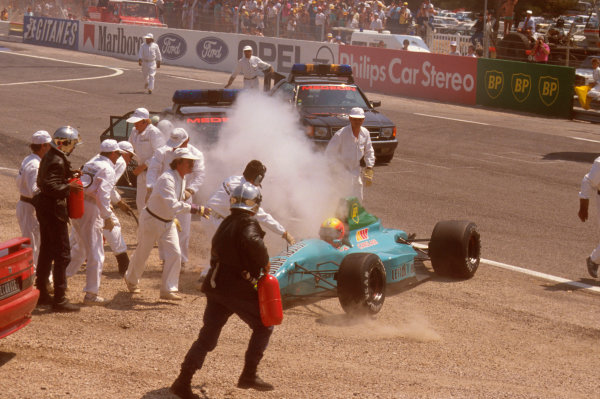 Paul Ricard, Le Castellet, France.7-9 July 1989.Mauricio Gugelmin (March CG891 Judd) has a huge crash on the start of the race at Epingle Ecole.Ref-89 FRA 13.World Copyright - LAT Photographic