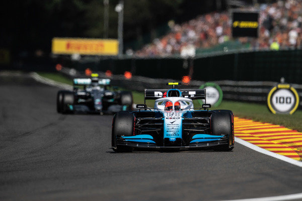 Robert Kubica, Williams FW42, leads Valtteri Bottas, Mercedes AMG W10