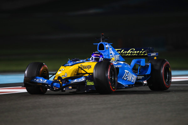 Fernando Alonso drives his 2005 Championship winning Renault R25