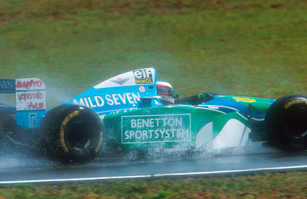 1994 Brazilian Grand Prix.Interlagos, Sao Paulo, Brazil.25-27 March 1994.Michael Schumacher (Benetton B195 Ford) 1st position.Ref-94 BRA 16.World Copyright - LAT Photographic