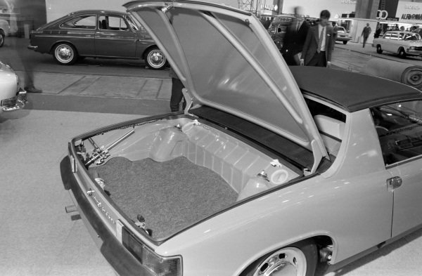 Porsche 914 demonstrating boot space despite the mid engine layout.