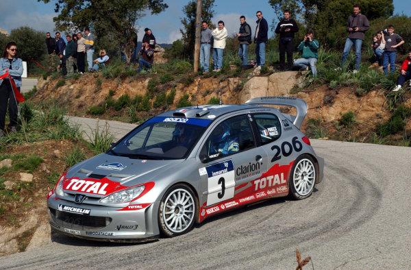 2002 World Rally ChampionshipInmarsat Corsica Rally, 8th-10th March 2002.Gilles Panizzi on stage 13.Photo: Ralph Hardwick/LAT