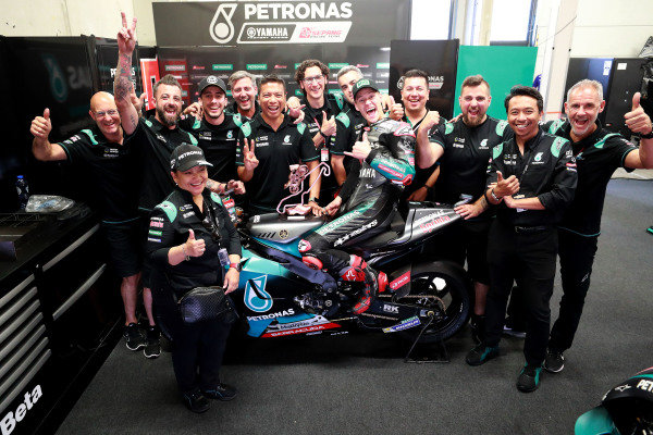 Fabio Quartararo, Petronas Yamaha SRT celebrates with the team.