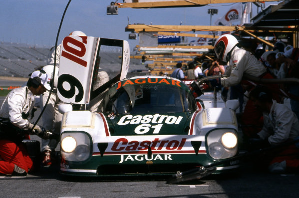 Race winners Davy Jones (USA) / Jan Lammers (NED) / Andy Wallace (GBR), Jaguar XJR-12 (Car #61, chassis #388), makes a pit stop. IMSA, Rd1, Daytona 24 Hours, Florida, USA. 3-4 February 1990.