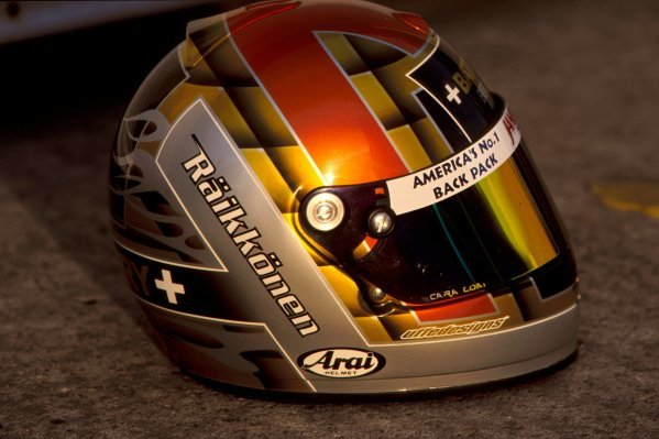 The helmet of Kimi Raikkonen (FIN) at his first car test. 