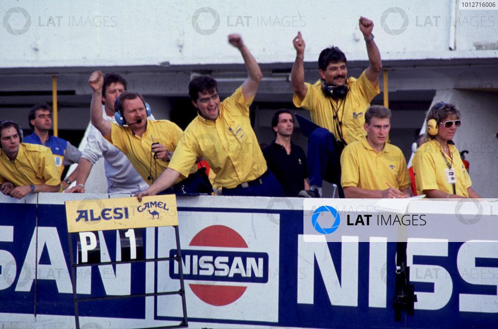Jerez, Spain. 4th June 1989. Eddie Jordan Racing mechanics celebrate Jean Alesi's victory. World Copyright: LAT Photographic. Ref: