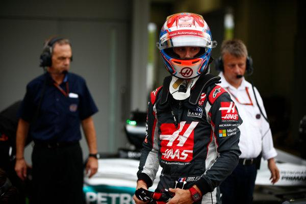 Suzuka Circuit, Japan. Saturday 8 October 2016. Romain Grosjean, Haas F1, in Parc Ferme after Qualifying. World Copyright: Andrew Hone/LAT Photographic ref: Digital Image _ONY5212