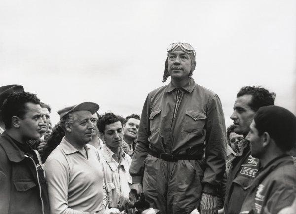 1948 French Grand Prix.Reims, France. 18 July 1948.Jean-Pierre Wimille, Alfa Romeo 158, 1st position, podium, portrait.World Copyright: LAT PhotographicRef: C22701