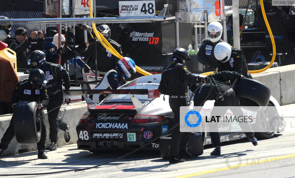 16-18 September, 2011, Monterey, California USA#48 Paul Miller Racing Porsche 911 GT3 RSR pitstop.(c)2011,  Dan R. Boyd  LAT Photo USA