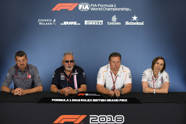 Guenther Steiner (ITA) Team Prinicipal, Haas F1 Team, Dr. Vijay Mallya (IND) Force India Formula One Team Owner, Zak Brown, CEO, McLaren Racing and Claire Williams (GBR) Williams Deputy Team Principal in the Press Conference