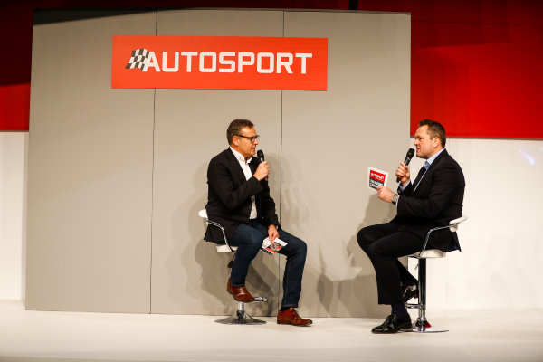 Autosport International Exhibition. National Exhibition Centre, Birmingham, UK. Friday 12th January 2018. A guest talks to Henry Hope-Frost on the Autosport Stage. World Copyright: Glenn Dunbar/LAT Images Ref: _31I2850