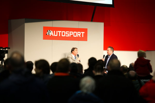 Autosport International Exhibition. National Exhibition Centre, Birmingham, UK. Sunday 14th January 2018. Nigel Mansell talks to Henry Hope-Frost on the Autosport Stage.World Copyright: Mike Hoyer/JEP/LAT Images Ref: MDH19929