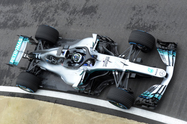 Mercedes-AMG F1 W09 EQ Power+ Launch and First Run Silverstone, England, 22 February 2018. Valtteri Bottas (FIN) Mercedes-AMG F1 W09 EQ Power. World Copyright: Simon Galloway/Sutton Images/LAT Images Photo ref: SUT_Mercedes_AMG_F_1567643