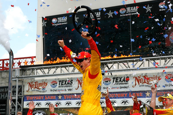 4-6 April, 2014, Fort Worth, Texas USA Joey Logano celebrates in victory lane ©2014, Russell LaBounty LAT Photo USA