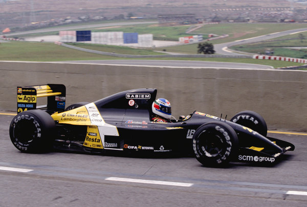 1992 Brazilian Grand Prix.Interlagos, Sao Paulo, Brazil. 3-5 April 1992.Giani Morbidelli (Minardi M191B Lamborghini) 7th position.Ref-92 BRA 18.World Copyright - LAT Photographic