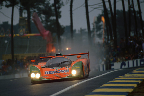 1992 Le Mans 24 Hours. Le Mans, France. 20th - 21st June 1992. Volker Weidler/Johnny Herbert)/Bertrand Gachot/Maurizio Sandro Sala (Mazda MXR-01), 4th position, action. World Copyright: LAT Photographic. Ref:  92LM26.